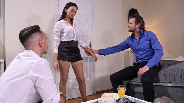 Sexy secretary Alyssia Kent bends over her desk for dirty doggy threesome GP1318