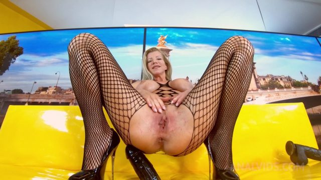 Hot MILF in fishnet Lara De Santis sticks huge dildo up her ass OTS238
