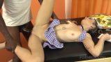 Petite schoolgirl Lary Lacerda rides handyman's BBC OTS140